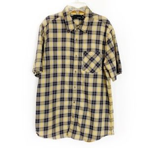 HURLEY Mens Brown and Yellow Plaid Button Down - M